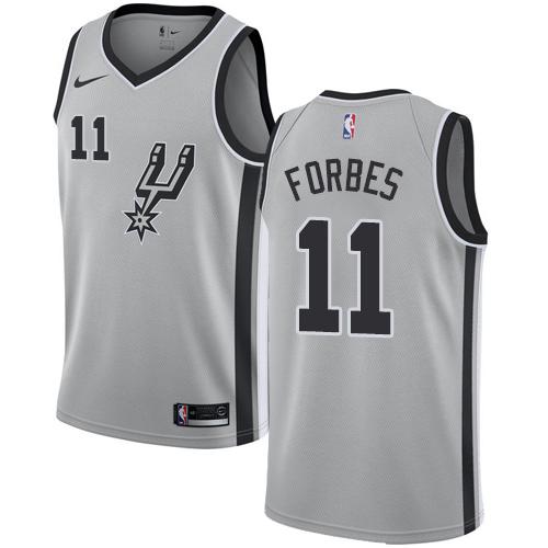 Spurs #11 Bryn Forbes Silver Basketball Swingman Statement Edition Jersey