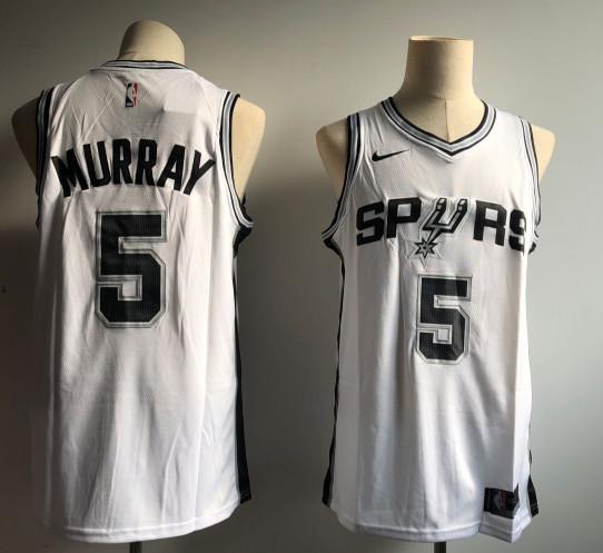 Spurs 5 Dejounte Murray White Nike Swingman Jersey