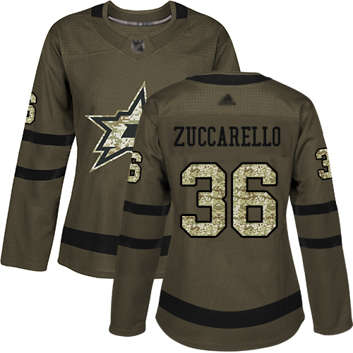 Stars #36 Mats Zuccarello Green Salute to Service Women's Stitched Hockey Jersey