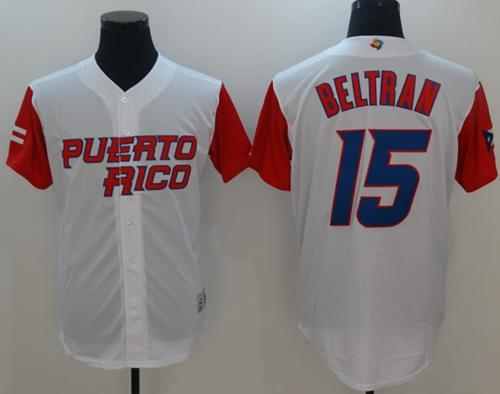 Team Puerto Rico #15 Carlos Beltran White 2017 World Baseball Classic Authentic Stitched MLB Jersey