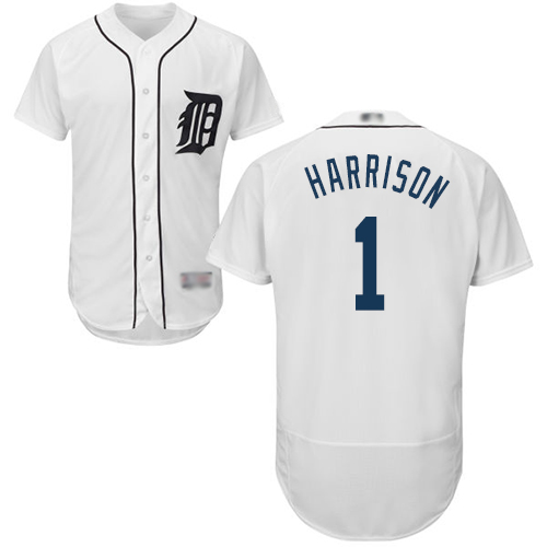 Tigers #1 Josh Harrison White Flexbase Authentic Collection Stitched Baseball Jersey