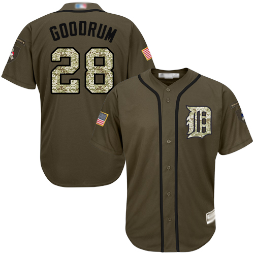 Tigers #28 Niko Goodrum Green Salute to Service Stitched Baseball Jersey