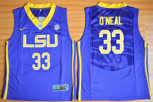 Tigers #33 Shaquille O'Neal Purple Basketball Stitched Youth NCAA Jersey