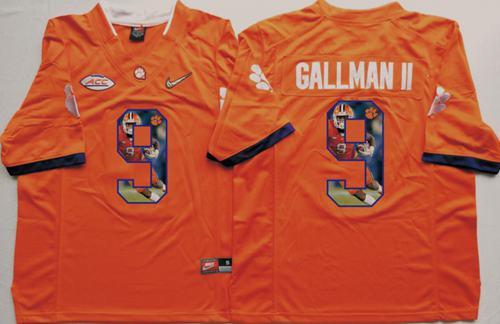Tigers #9 Wayne Gallman II Orange Player Fashion Stitched NCAA Jersey
