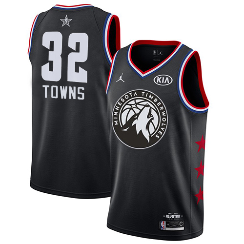 Timberwolves #32 Karl-Anthony Towns Black Basketball Jordan Swingman 2019 All-Star Game Jersey