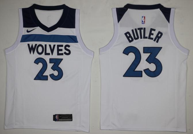 65ba47177 Timberwolves 23 Jimmy Butler White Nike Swingman Jersey(Without The Sponsor  Logo)