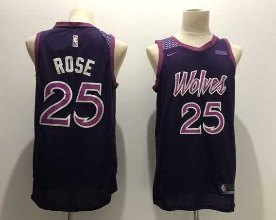 Timberwolves 25 Derrick Rose Purple 2018-19 City Edition Nike Swingman Jersey