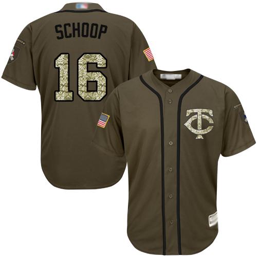 Twins #16 Jonathan Schoop Green Salute to Service Stitched Baseball Jersey