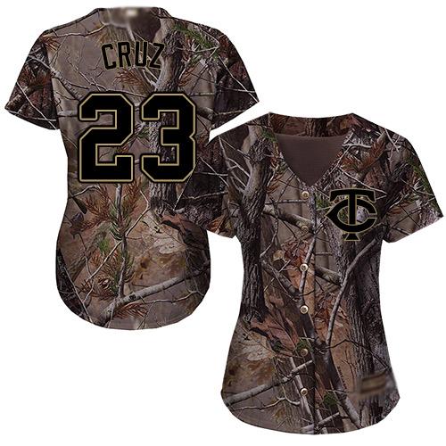 Twins #23 Nelson Cruz Camo Realtree Collection Cool Base Women's Stitched Baseball Jersey