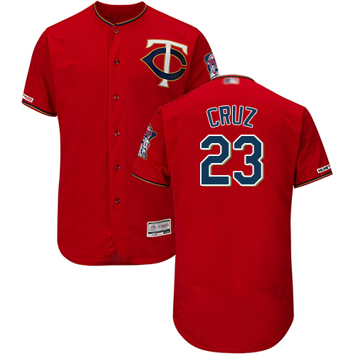Twins #23 Nelson Cruz Red Flexbase Authentic Collection Stitched Baseball Jersey