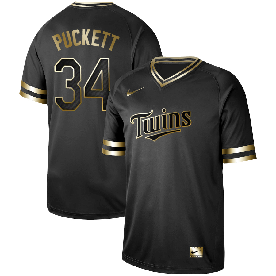 Twins 34 Kirby Puckett Black Gold Nike Cooperstown Collection Legend V Neck Jersey