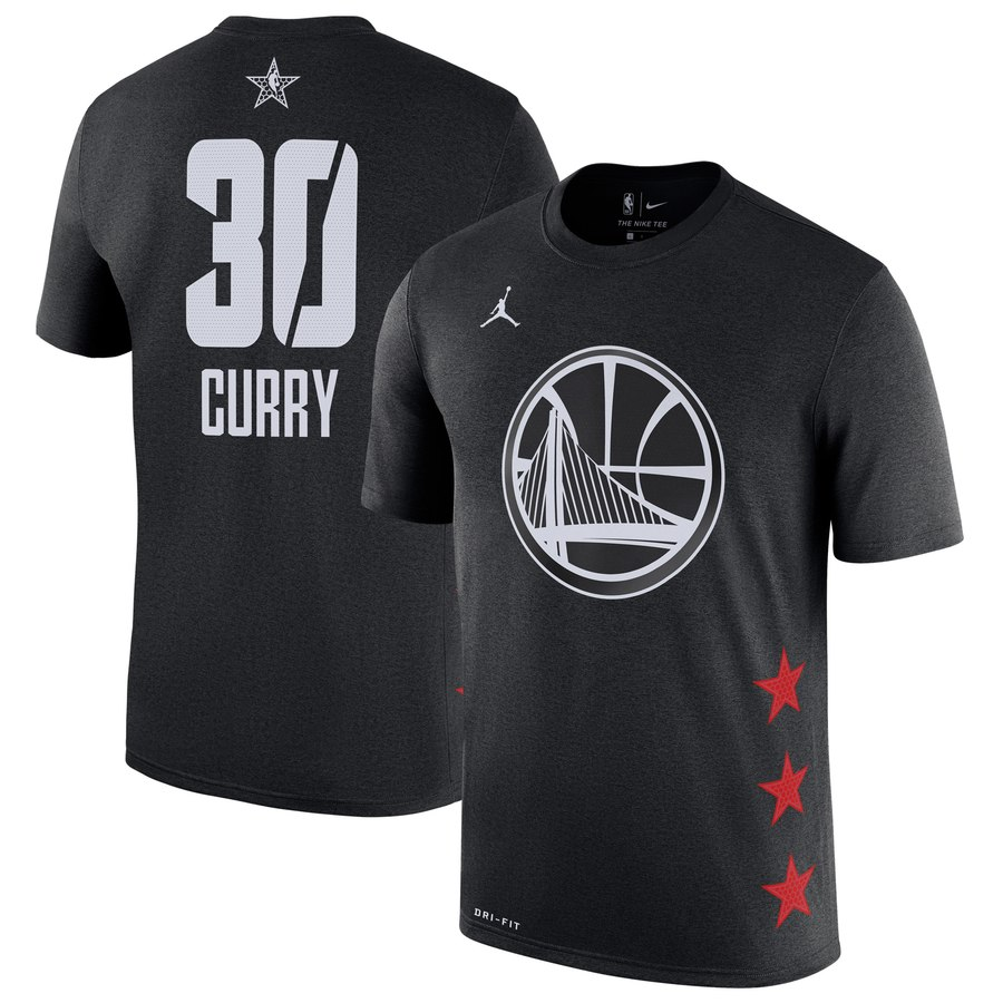 Warriors 30 Stephen Curry Black 2019 NBA All-Star Game Men's T-Shirt