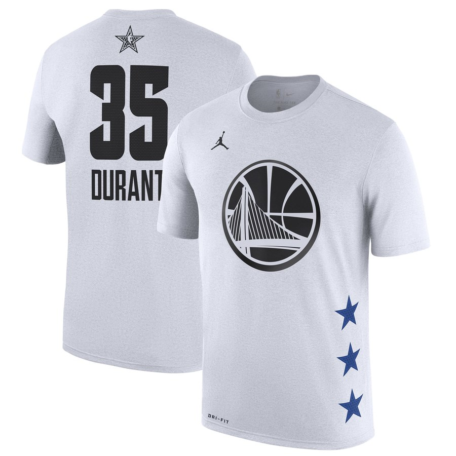 Warriors 35 Kevin Durant White 2019 NBA All-Star Game Men's T-Shirt