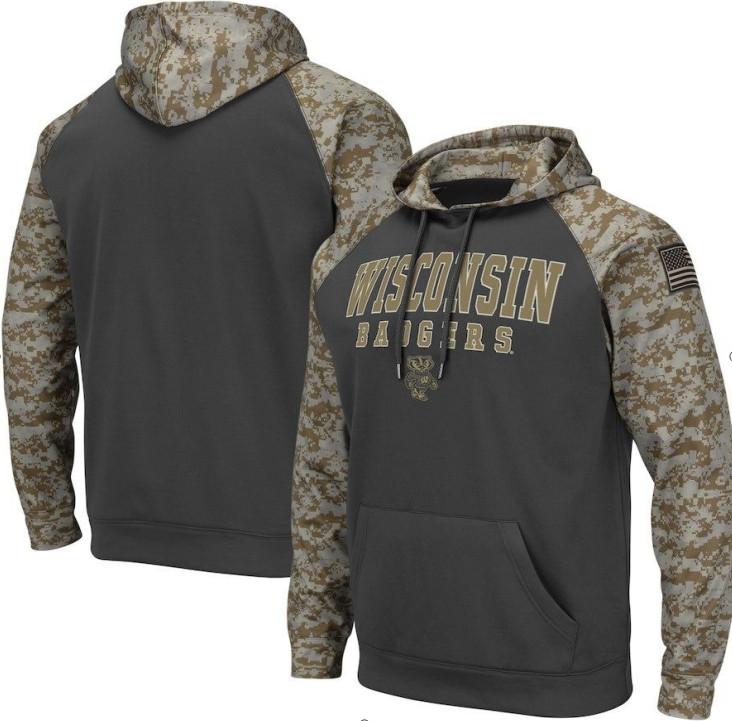 Wisconsin Badgers Gray Camo Men's Pullover Hoodie