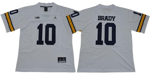 Wolverines #10 Tom Brady White Jordan Brand Limited Stitched NCAA Jersey
