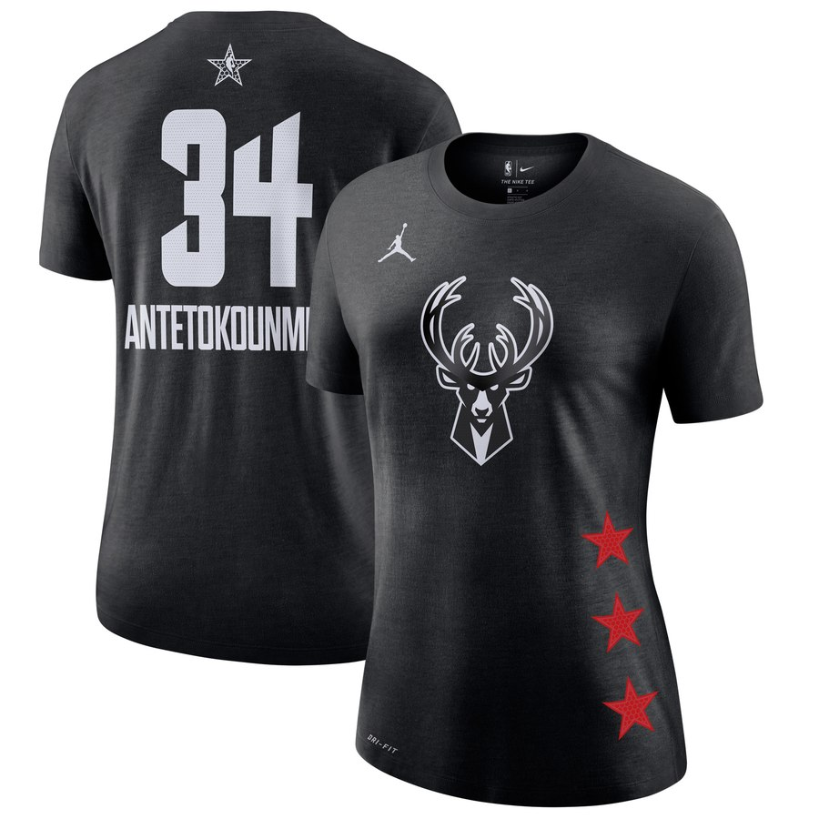 Women's Bucks 34 Giannis Antetokounmpo Black 2019 NBA All-Star Game Women's T-Shirt