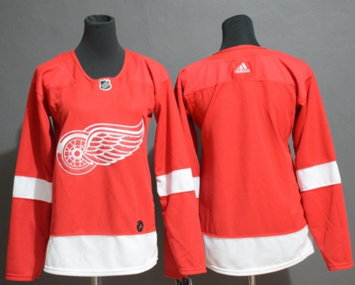 Women's Red Wings Blank Red Home Authentic Women's Stitched Hockey Jersey