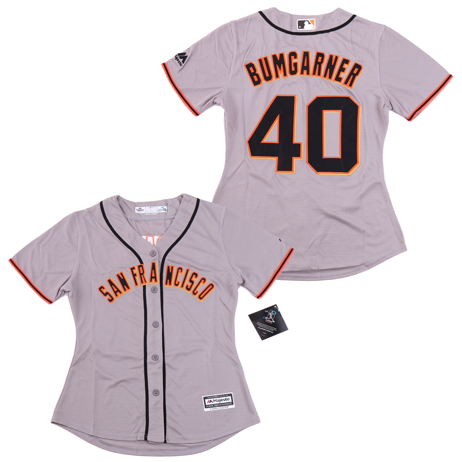 Women Giants 40 Madison Bumgarner Gray Women Cool Base Jersey