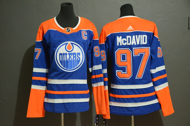Women Oilers 97 Connor McDavid Royal Women Adidas Jersey