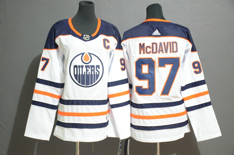 Women Oilers 97 Connor McDavid White Women Adidas Jersey