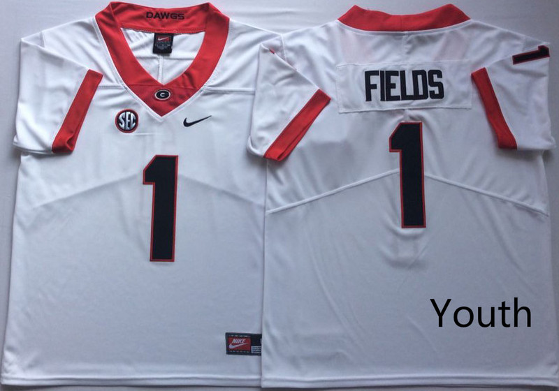 Youth Georgia Bulldogs 1 Justin Fields White Youth Nike College Football Jersey