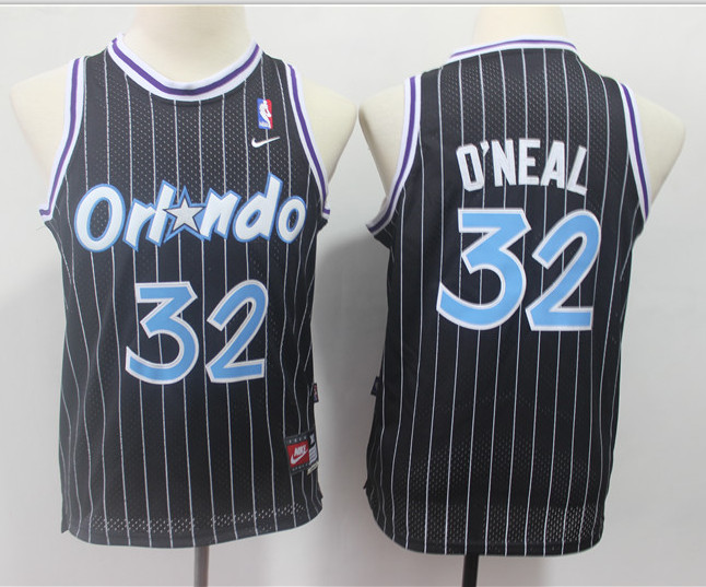 Youth Magic 32 Shaquille O'neal Black Youth Throwback Jersey