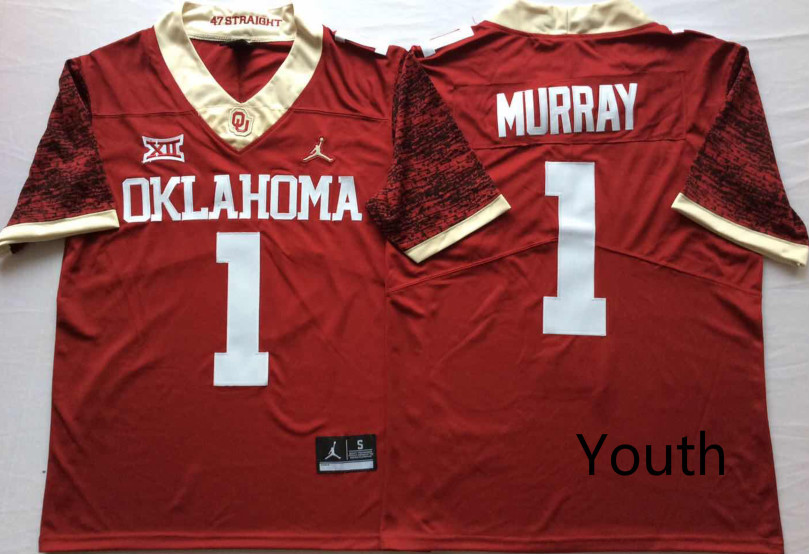 Youth Oklahoma Sooners 1 Kyler Murray Red Youth 47 Game Winning Streak College Football Jersey