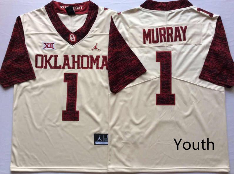 Youth Oklahoma Sooners 1 Kyler Murray White Youth 47 Game Winning Streak College Football Jersey