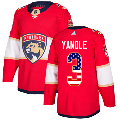 Youth Panthers #3 Keith Yandle Red Home Authentic USA Flag Stitched Youth Hockey Jersey