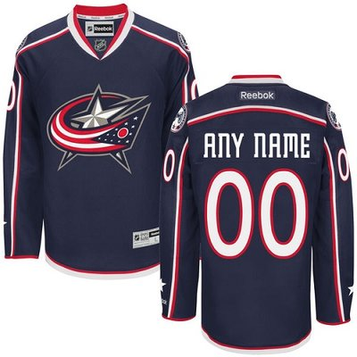 Youth Reebok Columbus Blue Jackets Customized Authentic Navy Blue Home NHL Jersey
