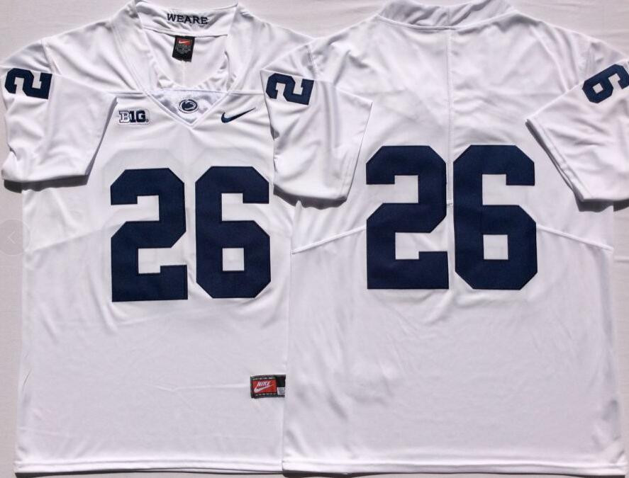 Youth enn State Nittany Lions 26 Saquon Barkley White Youth College Football Jersey